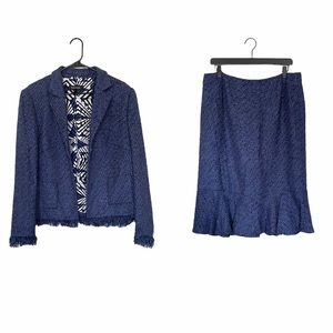 Escada Blue Tweed Blazer and Skirt Suit